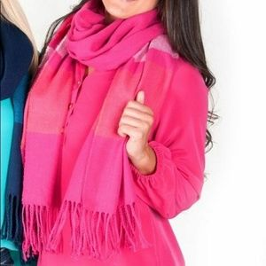 Accessories - Cozy Soft Hot Pink Striped Oversized Scarf